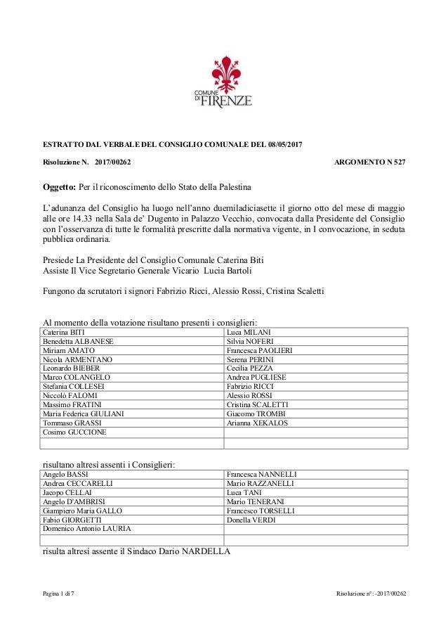Pagina 1 di 7 Risoluzione n°: -2017/00262 ESTRATTO DAL VERBALE DEL CONSIGLIO COMUNALE DEL 08/05/2017 Risoluzione N. 2017/0...