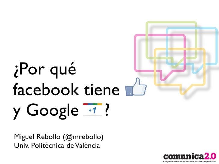 ¿Por quéfacebook tieney Google ?Miguel Rebollo (@mrebollo)Univ. Politècnica de València