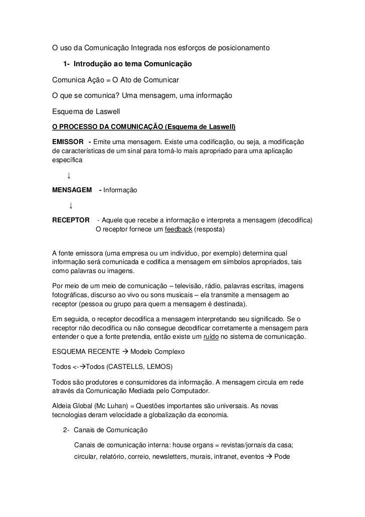 O uso da Comunicação Integrada nos esforços de posicionamento   1- Introdução ao tema ComunicaçãoComunica Ação = O Ato de ...
