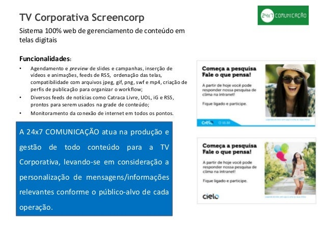 Sistema 100% web de gerenciamento de conteúdo em telas digitais Funcionalidades: • Agendamento e preview de slides e campa...