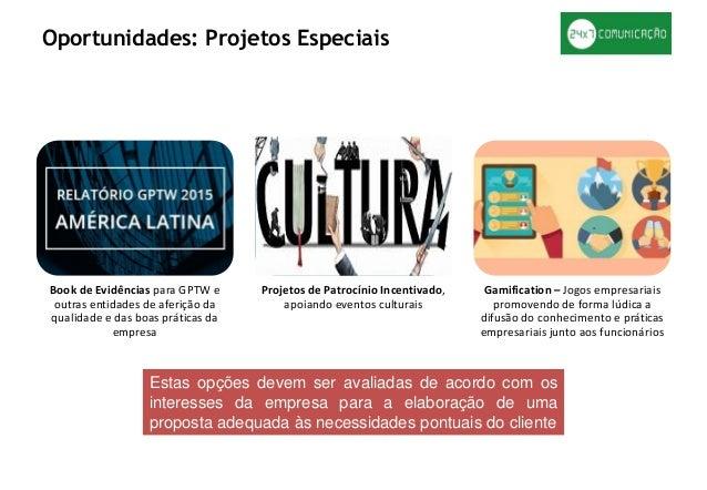 Book de Evidências para GPTW e outras entidades de aferição da qualidade e das boas práticas da empresa Projetos de Patroc...