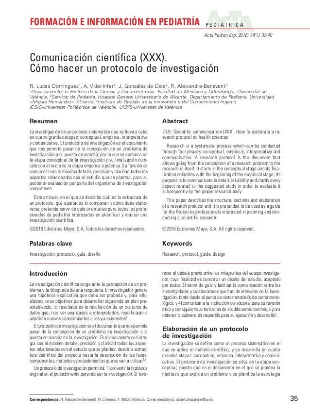 P E D I Á T R I C A Acta Pediatr Esp. 2016; 74(1): 35-40 FORMACIÓN E INFORMACIÓN EN PEDIATRÍA 35 Introducción La investiga...