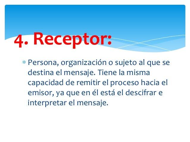 4. Receptor: Persona, organización o sujeto al que se destina el mensaje. Tiene la misma capacidad de remitir el proceso h...