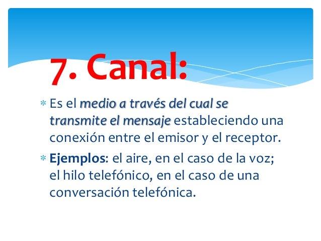 7. Canal: Es el medio a través del cual se transmite el mensaje estableciendo una conexión entre el emisor y el receptor. ...