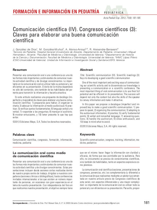 FORMACIÓN E INFORMACIÓN EN PEDIATRÍA  P E D I ÁT R I C A Acta Pediatr Esp. 2013; 71(8): 181-185  Comunicación científica (...