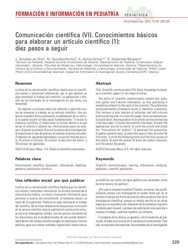 FORMACIÓN E INFORMACIÓN EN PEDIATRÍA  P E D I ÁT R I C A Acta Pediatr Esp. 2013; 71(10): 229-235  Comunicación científica ...