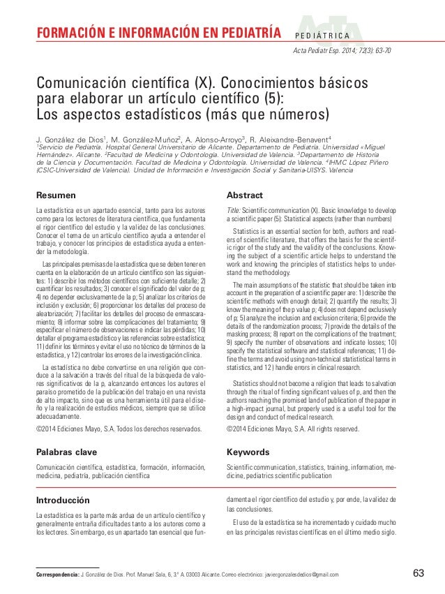 P E D I Á T R I C A Acta Pediatr Esp. 2014; 72(3): 63-70 FORMACIÓN E INFORMACIÓN EN PEDIATRÍA 63 Introducción La estadísti...