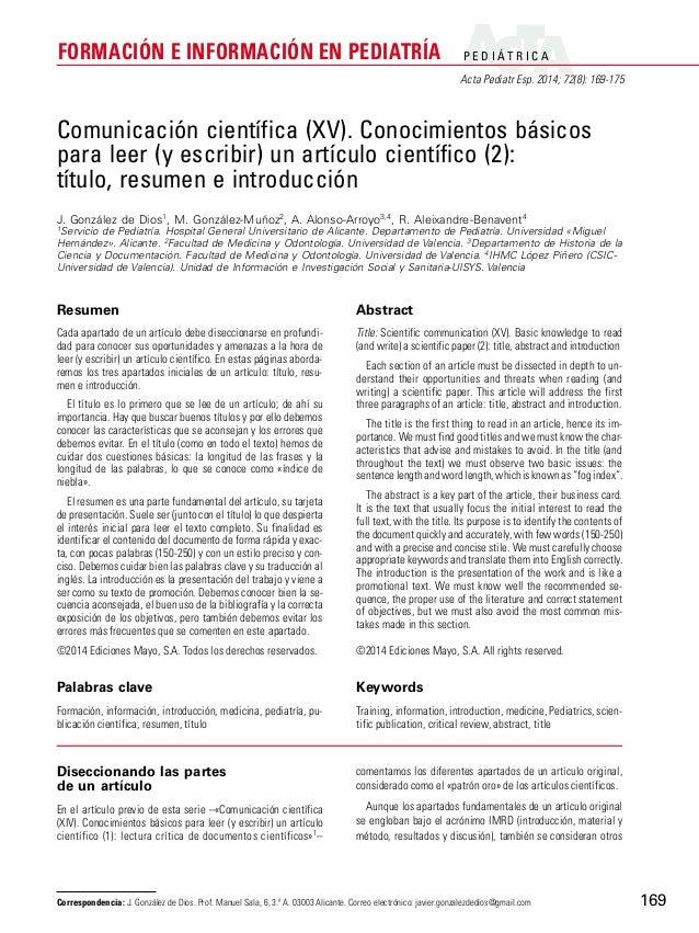 P E D I ÁT R I C A  Acta Pediatr Esp. 2014; 72(8): 169-175  FORMACIÓN E INFORMACIÓN EN PEDIATRÍA  169  Comunicación cientí...
