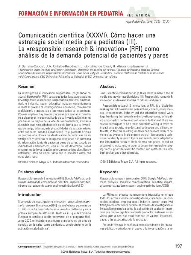 P E D I Á T R I C A Acta Pediatr Esp. 2016; 74(8): 197-201 FORMACIÓN E INFORMACIÓN EN PEDIATRÍA 197 Introducción El concep...