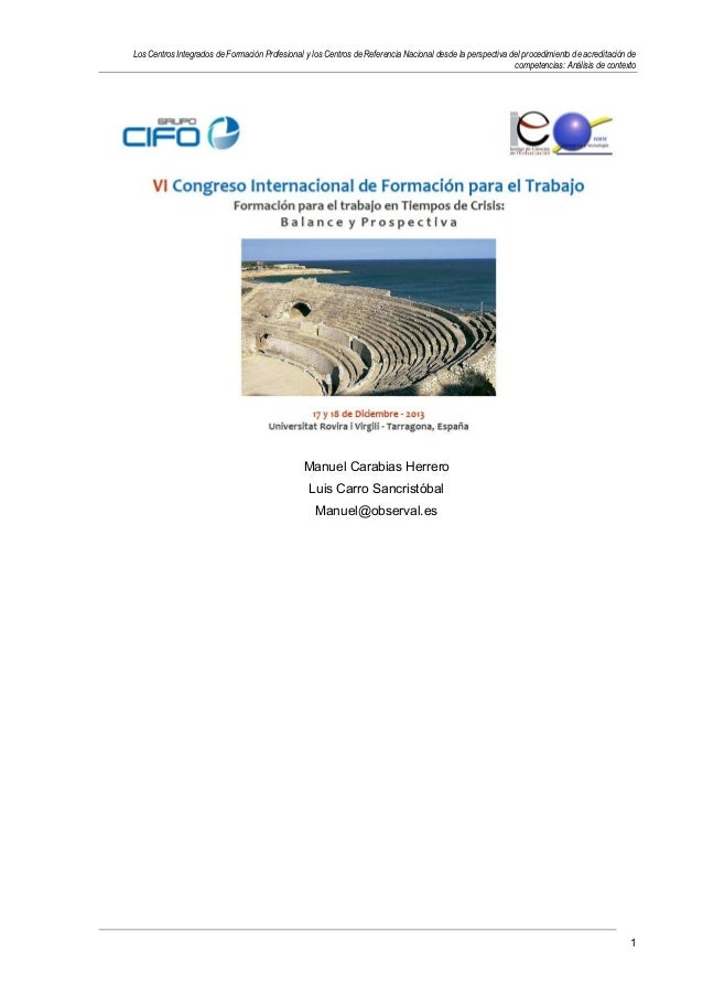 Los Centros Integrados de Formación Profesional y los Centros de Referencia Nacional desde la perspectiva del procedimient...
