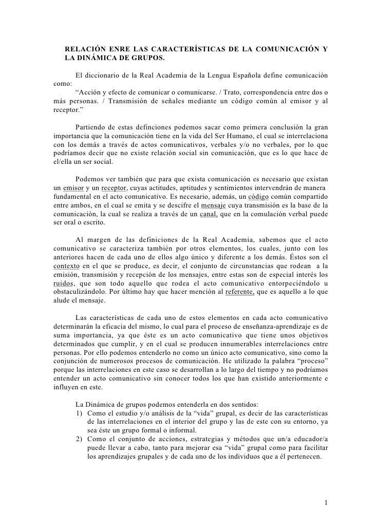 RELACIÓN ENTRE LAS CARACTERÍSTICAS DE LA COMUNICACIÓN Y LA DINÁMICA DE GRUPOS