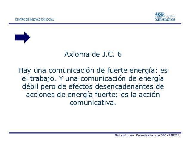 CENTRO DE INNOVACIÓN SOCIAL Axioma de J.C. 6 Hay una comunicación de fuerte energía: es Mariana Lomé - Comunicación con OS...