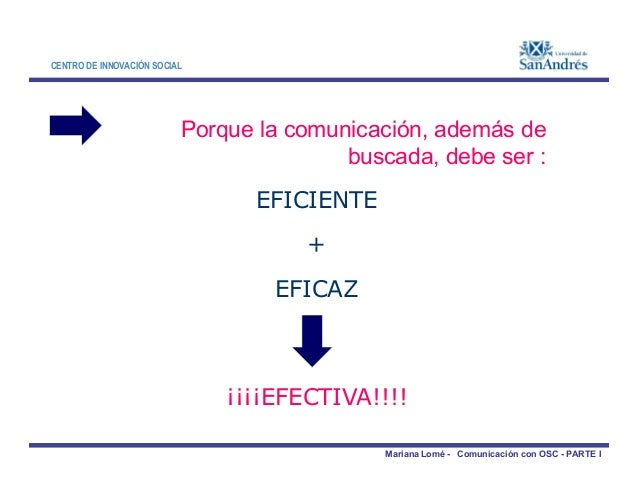 CENTRO DE INNOVACIÓN SOCIAL Porque la comunicación, además de buscada, debe ser : EFICIENTE + Mariana Lomé - Comunicación ...