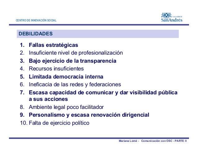 CENTRO DE INNOVACIÓN SOCIAL DEBILIDADES 1. Fallas estratégicas 2. Insuficiente nivel de profesionalización 3. Bajo ejercic...