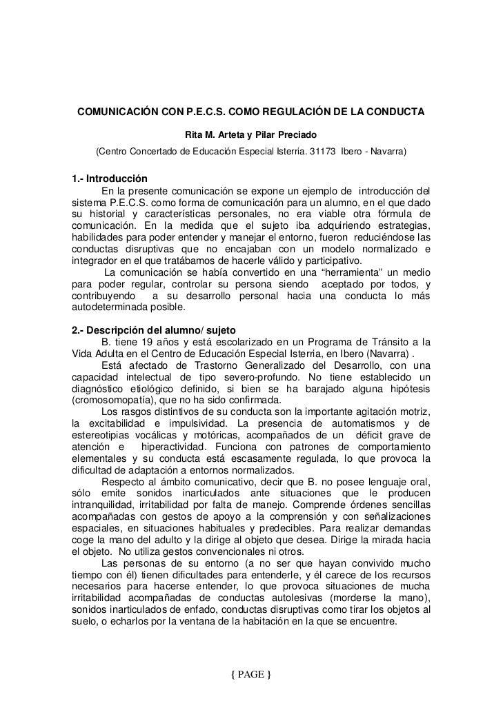 COMUNICACIÓN CON P.E.C.S. COMO REGULACIÓN DE LA CONDUCTA                         Rita M. Arteta y Pilar Preciado     (Cent...