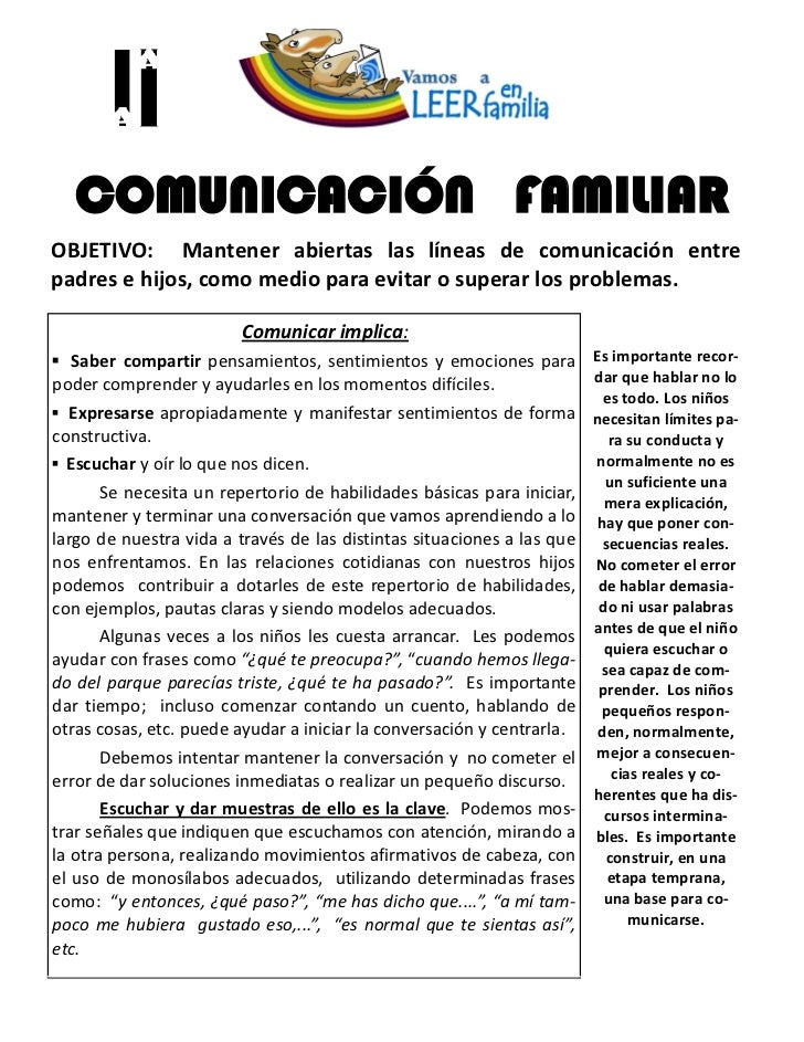 COMUNICACIÓN FAMILIAROBJETIVO: Mantener abiertas las líneas de comunicación entrepadres e hijos, como medio para evitar o ...