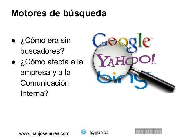 Motores de búsqueda  ● ¿Cómo era sin  buscadores?  ● ¿Cómo afecta a la  empresa y a la  Comunicación  Interna?  www.juanjo...