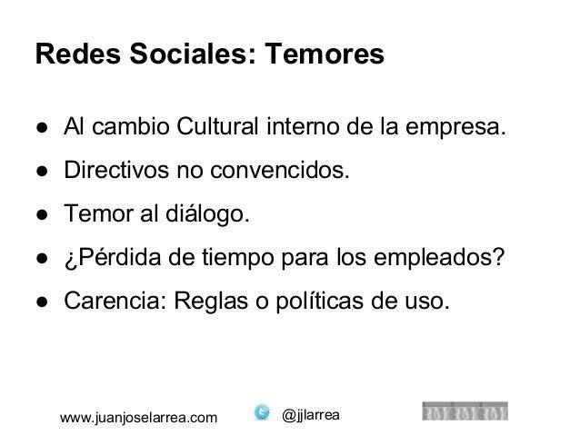 Redes Sociales: Temores  ● Al cambio Cultural interno de la empresa.  ● Directivos no convencidos.  ● Temor al diálogo.  ●...