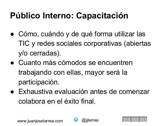 Público Interno: Capacitación  ● Cómo, cuándo y de qué forma utilizar las  TIC y redes sociales corporativas (abiertas  y/...