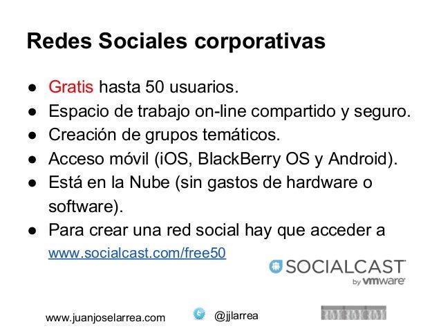 Redes Sociales corporativas  ● Gratis hasta 50 usuarios.  ● Espacio de trabajo on-line compartido y seguro.  ● Creación de...