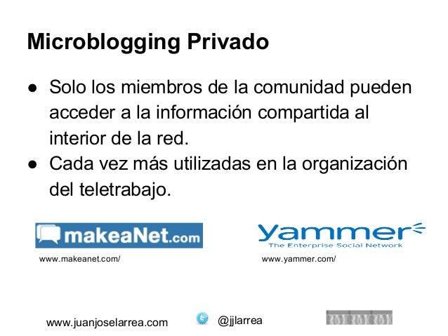 Microblogging Privado  ● Solo los miembros de la comunidad pueden  acceder a la información compartida al  interior de la ...