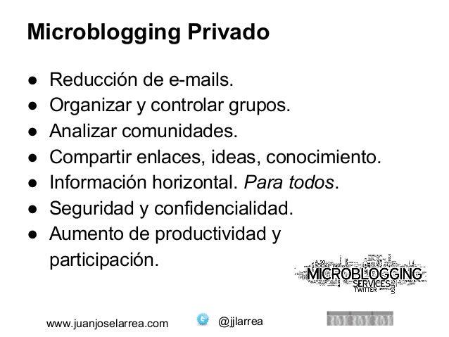 Microblogging Privado  ● Reducción de e-mails.  ● Organizar y controlar grupos.  ● Analizar comunidades.  ● Compartir enla...