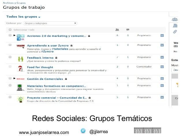 Redes Sociales: Grupos Temáticos  www.juanjoselarrea.com @jjlarrea