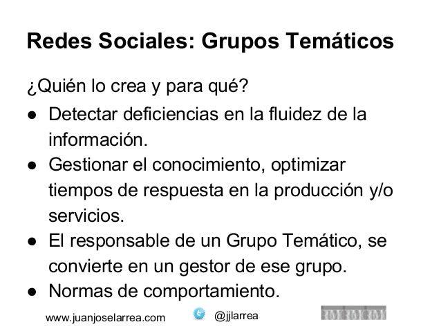 Redes Sociales: Grupos Temáticos  ¿Quién lo crea y para qué?  ● Detectar deficiencias en la fluidez de la  información.  ●...