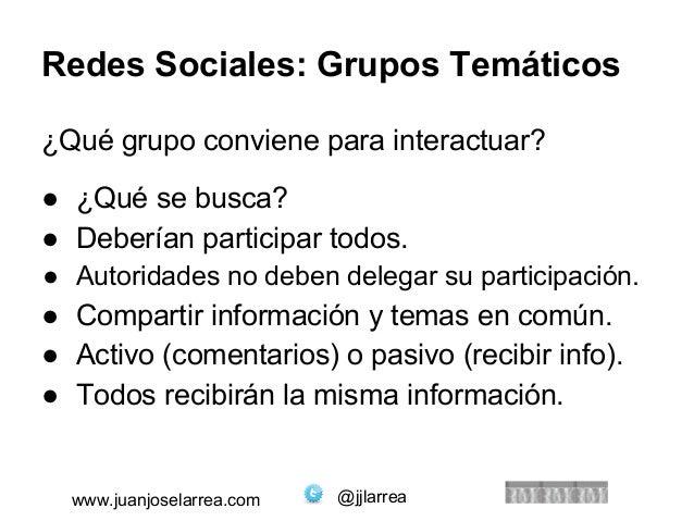 Redes Sociales: Grupos Temáticos  ¿Qué grupo conviene para interactuar?  ● ¿Qué se busca?  ● Deberían participar todos.  ●...