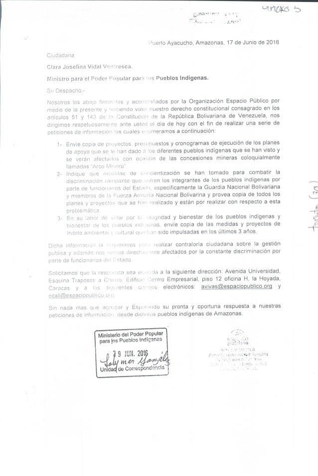 Petición de información al MPPPI (junio 2016)