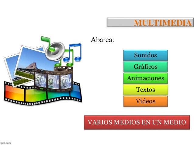 MULTIMEDIA  Abarca:  Sonidos  Gráficos  Animaciones  Textos  Videos  VARIOS MEDIOS EN UN MEDIO
