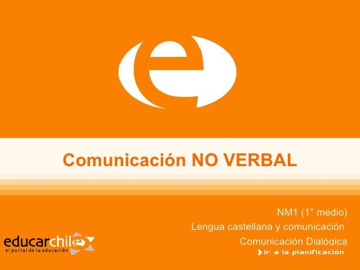 Comunicación NO VERBAL NM1 (1° medio) Lengua castellana y comunicación  Comunicación Dialógica