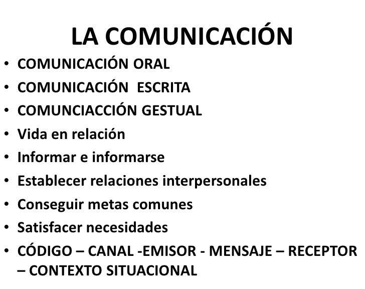 LA COMUNICACIÓN•   COMUNICACIÓN ORAL•   COMUNICACIÓN ESCRITA•   COMUNCIACCIÓN GESTUAL•   Vida en relación•   Informar e in...
