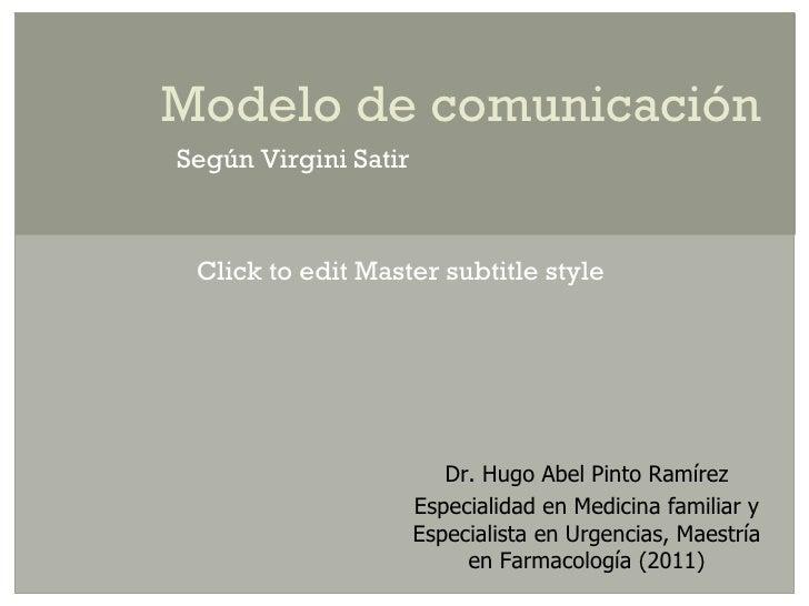 Modelo de comunicaciónSegún Virgini Satir Click to edit Master subtitle style                         Dr. Hugo Abel Pinto ...