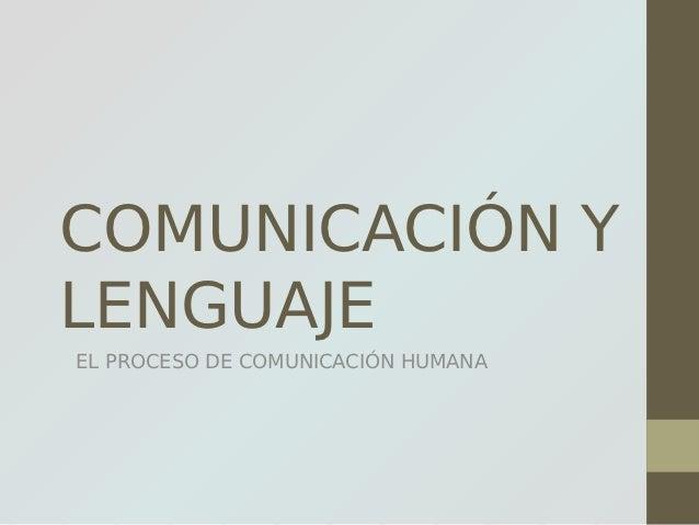 COMUNICACIÓN YLENGUAJEEL PROCESO DE COMUNICACIÓN HUMANA