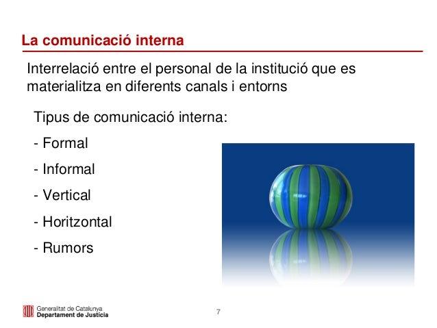7 La comunicació interna Interrelació entre el personal de la institució que es materialitza en diferents canals i entorns...