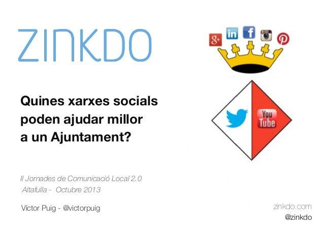 Quines xarxes socials poden ajudar millor a un Ajuntament? II Jornades de Comunicació Local 2.0 Altafulla - Octubre 2013 V...