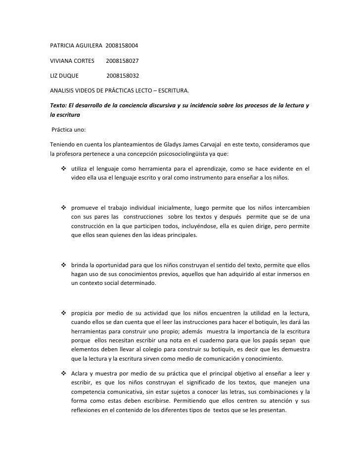 PATRICIA AGUILERA 2008158004  VIVIANA CORTES       2008158027  LIZ DUQUE            2008158032  ANALISIS VIDEOS DE PRÁCTIC...