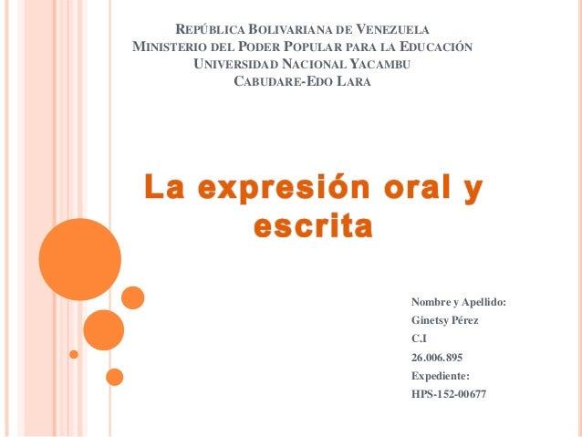 REPÚBLICA BOLIVARIANA DE VENEZUELA MINISTERIO DEL PODER POPULAR PARA LA EDUCACIÓN UNIVERSIDAD NACIONAL YACAMBU CABUDARE-ED...