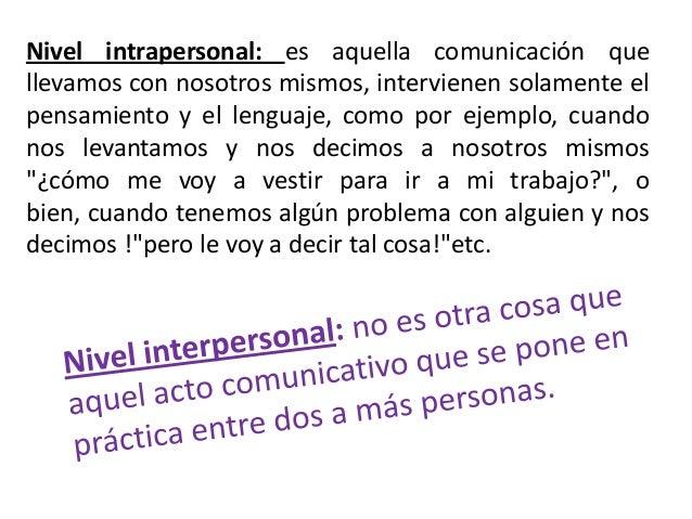 Nivel intrapersonal: es aquella comunicación quellevamos con nosotros mismos, intervienen solamente elpensamiento y el len...