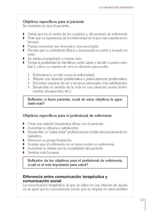1. Cap. 1 Com terapeutica  24/5/07  11:58  Página 21  LA COMUNICACIÓN TERAPÉUTICA  Objetivos específicos para el paciente ...