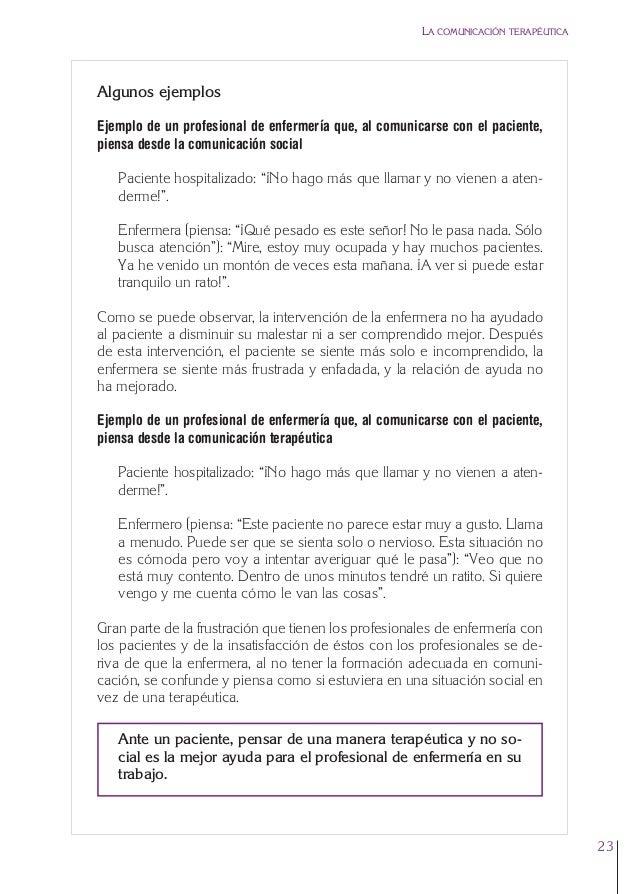 1. Cap. 1 Com terapeutica  24/5/07  11:58  Página 23  LA COMUNICACIÓN TERAPÉUTICA  Algunos ejemplos Ejemplo de un profesio...