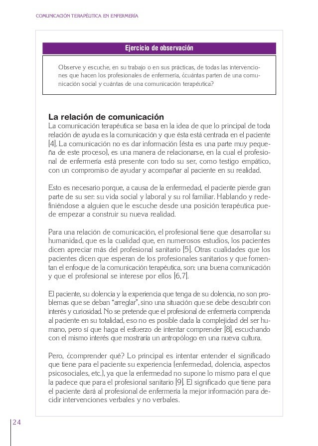 1. Cap. 1 Com terapeutica  24/5/07  11:58  Página 24  COMUNICACIÓN TERAPÉUTICA EN ENFERMERÍA  Ejercicio de observación Obs...