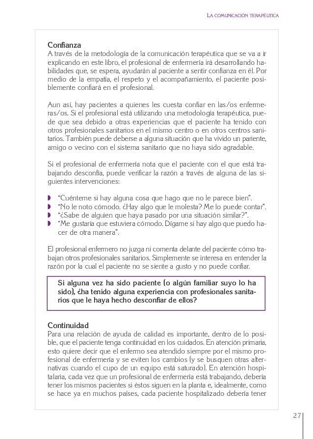 1. Cap. 1 Com terapeutica  24/5/07  11:58  Página 27  LA COMUNICACIÓN TERAPÉUTICA  Confianza A través de la metodología de...
