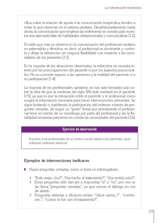 1. Cap. 1 Com terapeutica  24/5/07  11:58  Página 29  LA COMUNICACIÓN TERAPÉUTICA  cífica sobre la relación de ayuda ni la...