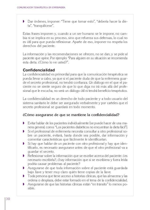 """1. Cap. 1 Com terapeutica  24/5/07  11:58  Página 30  COMUNICACIÓN TERAPÉUTICA EN ENFERMERÍA  Q Dar órdenes, imponer: """"Tie..."""