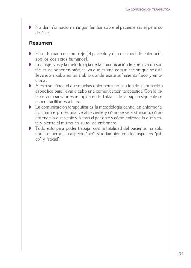 1. Cap. 1 Com terapeutica  24/5/07  11:58  Página 31  LA COMUNICACIÓN TERAPÉUTICA  Q No dar información a ningún familiar ...