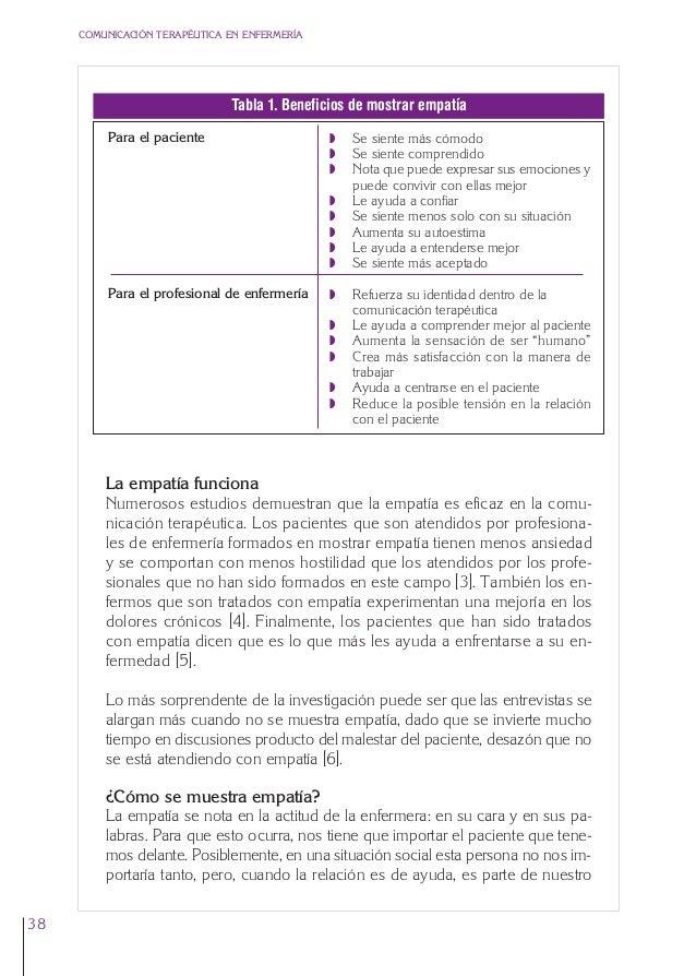 2. Cap. 2 La empatía  24/5/07  12:47  Página 38  COMUNICACIÓN TERAPÉUTICA EN ENFERMERÍA  Tabla 1. Beneficios de mostrar em...