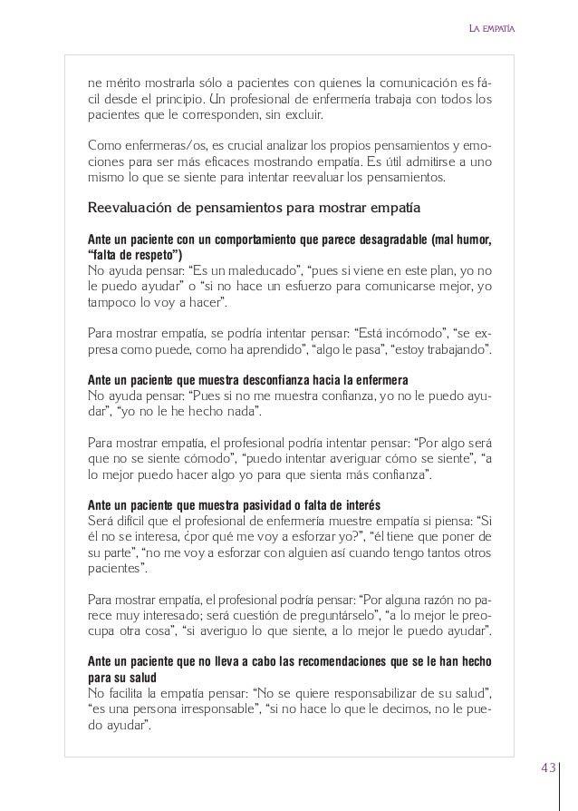 2. Cap. 2 La empatía  24/5/07  12:47  Página 43  LA EMPATÍA  ne mérito mostrarla sólo a pacientes con quienes la comunicac...