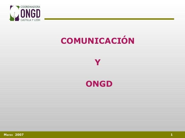 COMUNICACIÓN  Y  ONGD